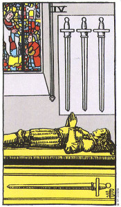 Four of Swords: Can indicate a need for withdrawal, meditation