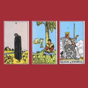 Five and Four of Cups, Queen of Swords Tarot cards