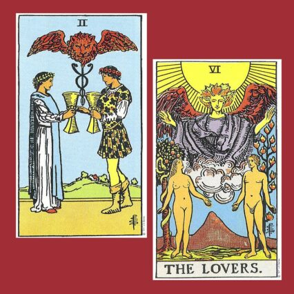 the lovers and the two of cups in tarot