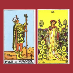 Page of Wands and Nine of Pentacles Tarot cards