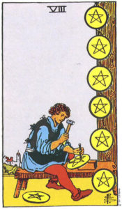 Eight of Pentacles Tarot card