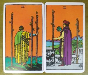 Three and two of Wands tarot Cards