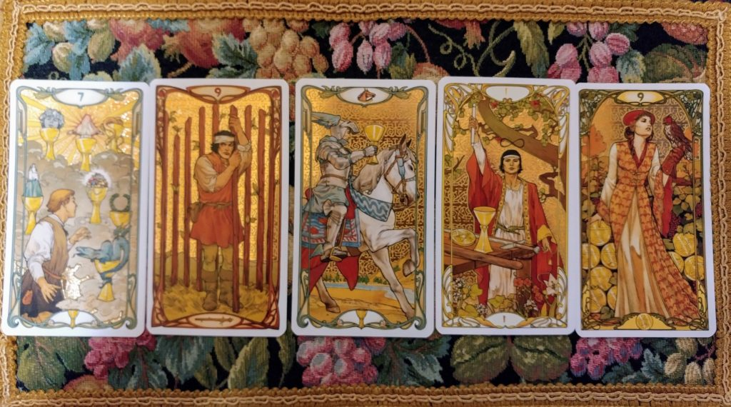 Golden art nouveau tarot cards career spread